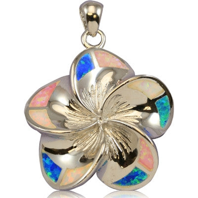 Sterling Silver Hawaiian Rainbow Opal Plumeria Pendant~Extra Large