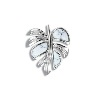 Sterling Silver Hawaiian White Turquoise Monstera Leaf Pendant