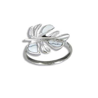 Sterling Silver Hawaiian White Turquoise Monstera Leaf Ring