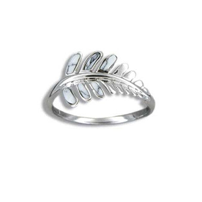 Sterling Silver Hawaiian White Turquoise Fern Leaf Ring