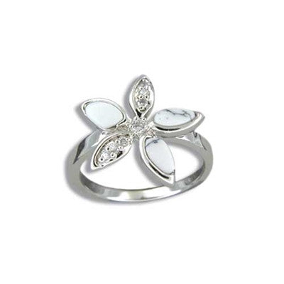 Sterling Silver Hawaiian White Turquoise Plumeria CZ Ring