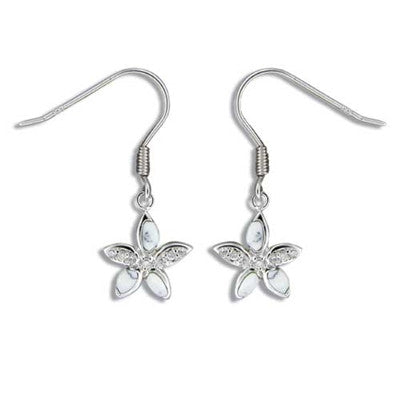Sterling Silver Hawaiian White Turquoise Plumeria CZ Dangle Earrings