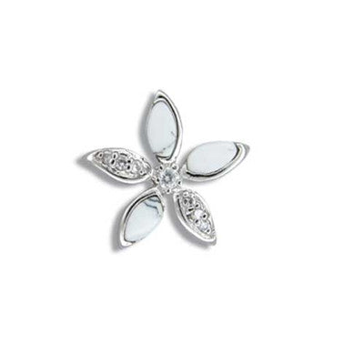 Sterling Silver Hawaiian White Turquoise Plumeria CZ Pendant