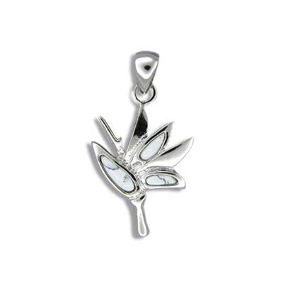 Sterling Silver Hawaiian White Turquoise Bird of Paradise Pendant