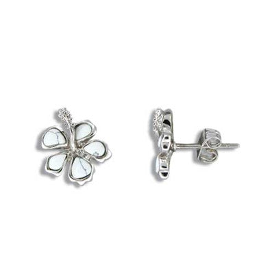 Sterling Silver Hawaiian White Turquoise Girls Hibiscus Stud Earrings