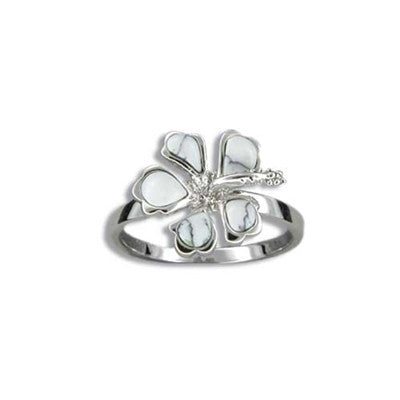 Sterling Silver Hawaiian White Turquoise Hibiscus Ring