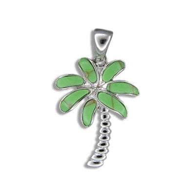Sterling Silver Hawaiian Green Turquoise Palm Tree Pendant~Large