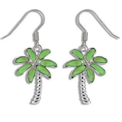 Sterling Silver Hawaiian Green Turquoise Palm Tree Dangle Earrings~Large