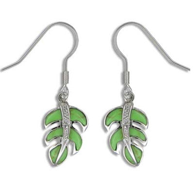 Sterling Silver Hawaiian Green Turquoise Monstera Leaf CZ Dangle Earrings