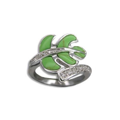 Sterling Silver Hawaiian Green Turquoise Monstera Leaf CZ Ring