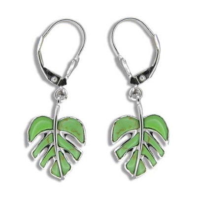 Sterling Silver Hawaiian Green Turquoise Monstera Leaf Lever Earrings