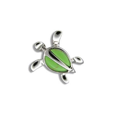 Sterling Silver Hawaiian Green Turquoise Honu Pendant