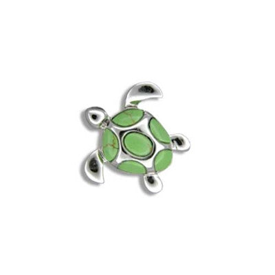 Sterling Silver Hawaiian Green Turquoise Sea Turtle Pendant