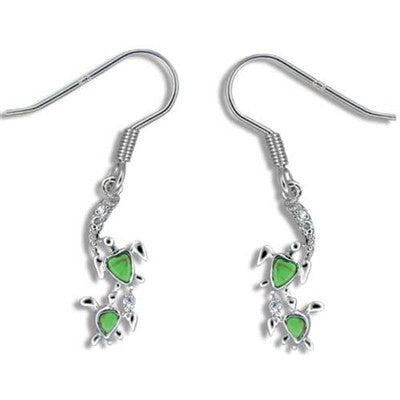 Sterling Silver Hawaiian Green Turquoise Mother & Baby Honu Dangle Earrings