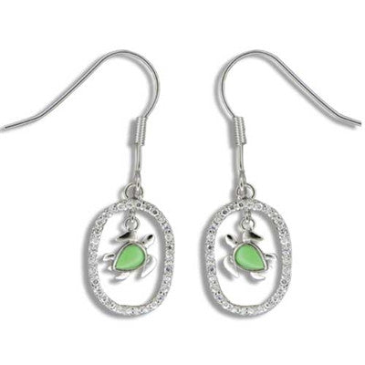 Sterling Silver Hawaiian Green Turquoise Honu CZ Oval Dangle Earrings