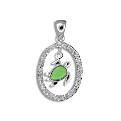 Sterling Silver Hawaiian Green Turquoise Honu CZ Oval Pendant