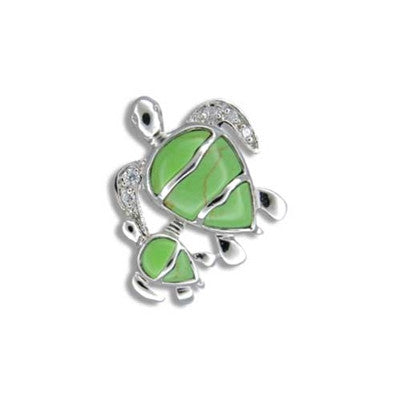 Sterling Silver Hawaiian Green Turquoise Mother & Baby Horizontal Wave CZ Honu Pendant