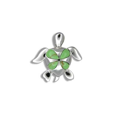 Sterling silver hawaiian green turquoise 4 petal plumeria honu sterling silver hawaiian green turquoise 4 petal plumeria honu pendant aloadofball Image collections