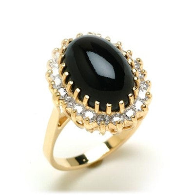 Maui Divers Jewelry Black Coral Ring with Diamonds in 14K Yellow Gold