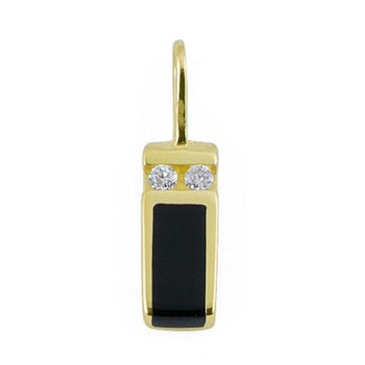 Maui Divers Jewelry Black Coral Pendant with Diamonds in 14K Yellow Gold