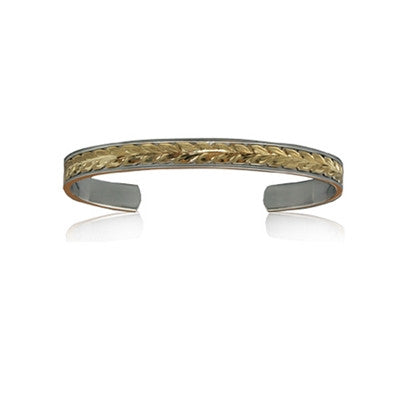 Sterling Silver 14K Yellow Gold Two Toned Maile Leaf Scroll Cuff Bangle~6mm