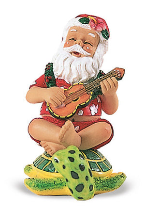 HAND PAINTED ORNAMENT STRUMMING SANTA ON HONU - 13054