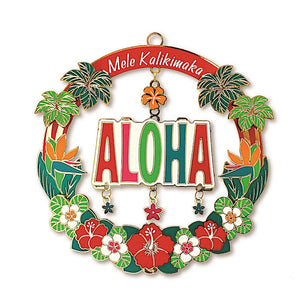MELE ALOHA METAL DIE-CUT COLLECTIBLE ORNAMENT - 13229