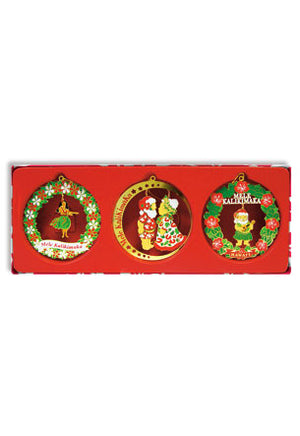 Mini Hawaiian Christmas Celebration Metal Die-Cut Ornament Set - 13263