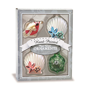 HAND-PAINTED COLLECTIBLE MINI GLASS OCEAN HOLIDAY ORNAMENT 4-PACK SET - 13639