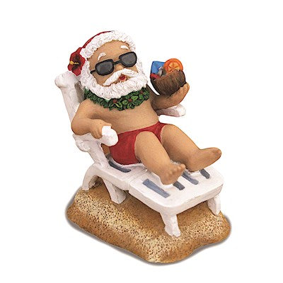 Beach Chair Santa Hand Painted Ornament - 13657