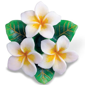 White Plumerias Hand Painted Ornament - 13661