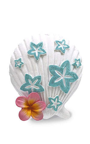 HAND PAINTED ORNAMENT - PLUMERIA SEASHELL - 13674