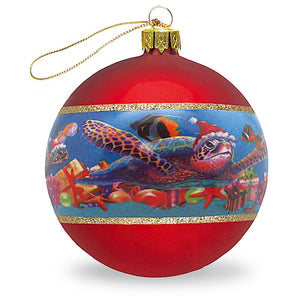GLASS BALL ORNAMENT, HONU CHRISTMAS - 13818