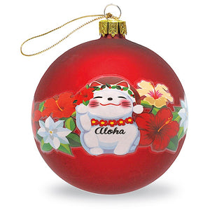 GLASS BALL ORNAMENT, HOLIDAY LUCKY CAT - 13819