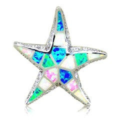 Sterling Silver Rainbow Opal Starfish Pendant~30MM