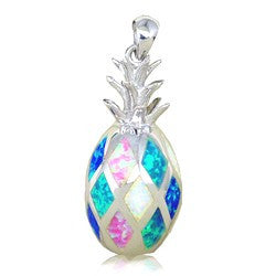 Sterling Silver Rainbow Opal Pineapple Pendant~Large