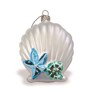 HAND-PAINTED COLLECTIBLE SILVER SEASHELL ELEGANCE GLASS ORNAMENT - 13945