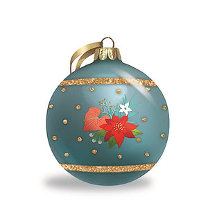 FLORAL HOLIDAY GLITTER GLASS ORNAMENT - 16051