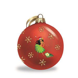 ISLAND HULA HONEYS GLITTER GLASS ORNAMENT - 16052