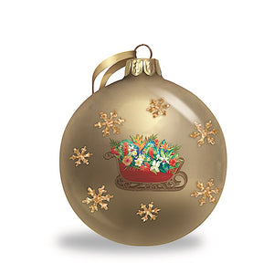 SLEIGH OF ALOHA GLITTER GLASS ORNAMENT - 16053