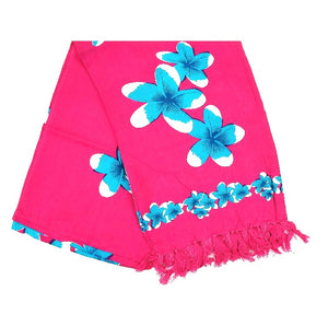New Blue Plumeria Long Sarong - Pink