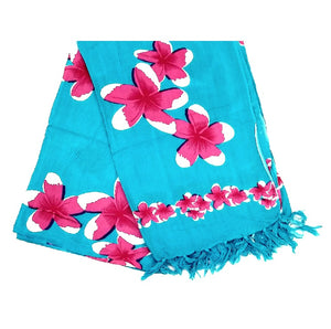 New Pink Plumeria Long Sarong - Turquoise