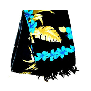 New Gold Monstera Long Sarong - Black