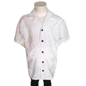 White On White New Hibiscus Print Boys Aloha Shirt