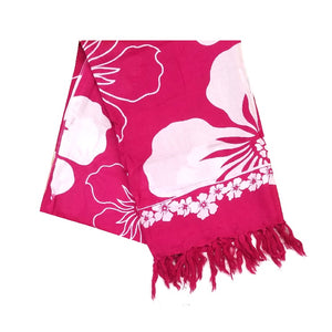 Hibiscus Border Long Sarong - Fuchsia