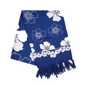 Hibiscus Border Long Sarong - Navy