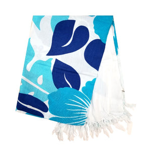 Lauae Long Sarong - Blue/White