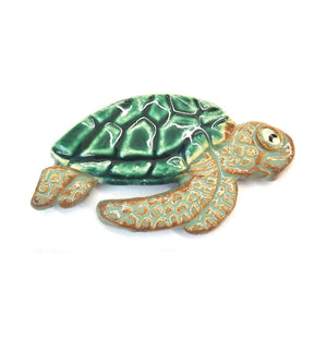 Raku Sea Turtle Magnet