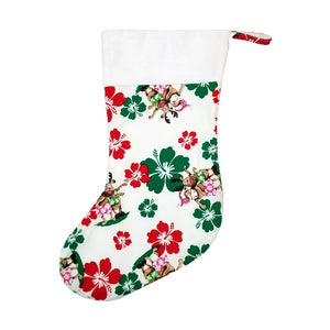 Limited Edition White Hula Santa Christmas Stocking