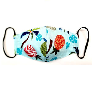 Kids Pineapple Palm Light Blue Fashion Face Mask